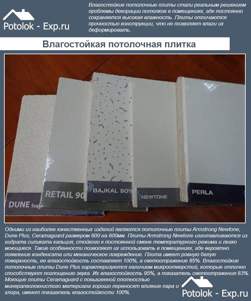 Влагостойкая потолочная плитка