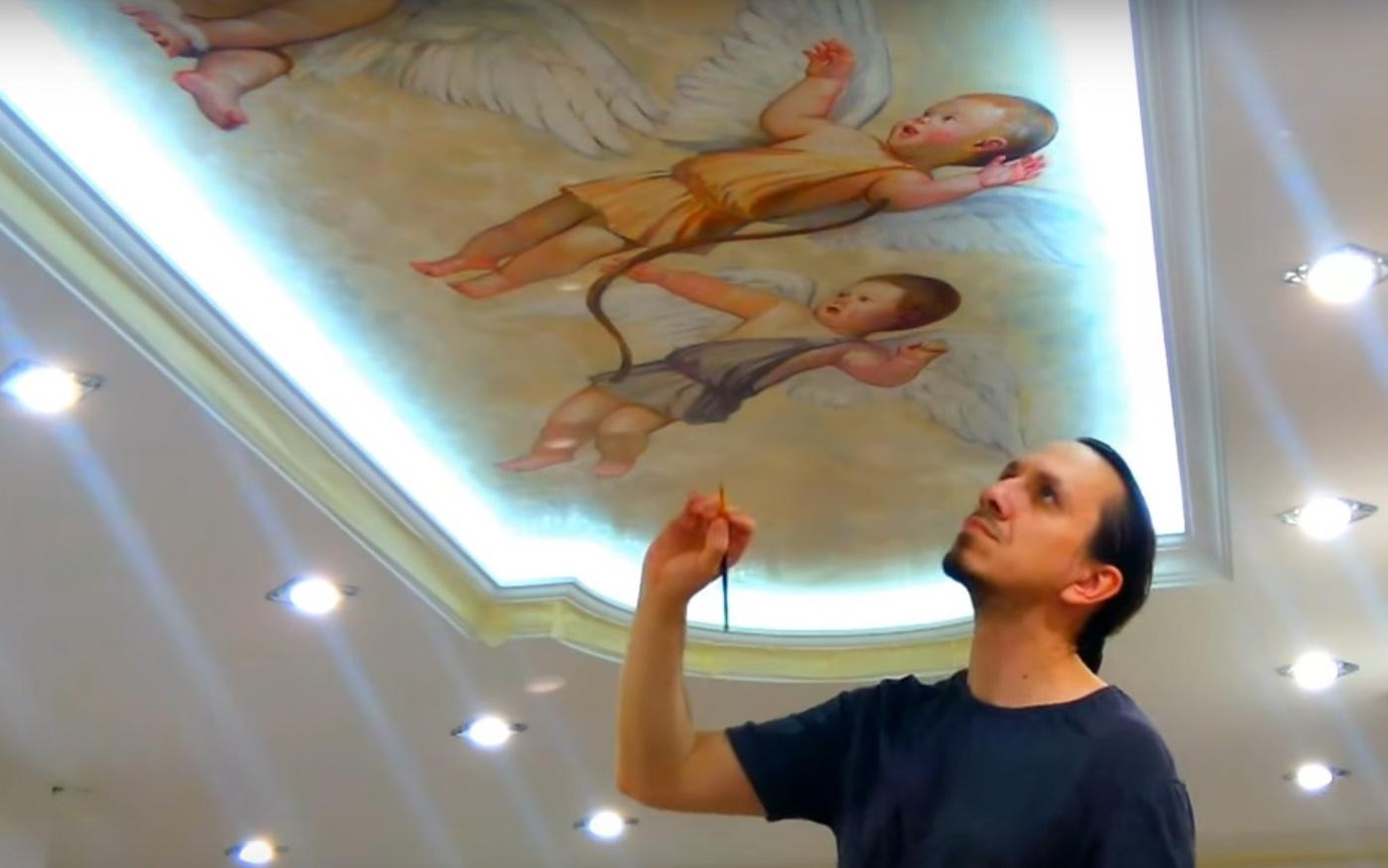 Ручная роспись натяжного потолка