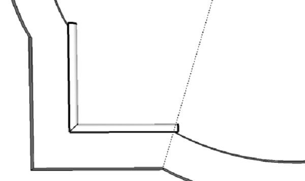 Вклеиваем ответный кусок профиля. По линии нужно на глаз разделить угол фигуры пополам и по этой линии отрезать край профиля ножом по месту.