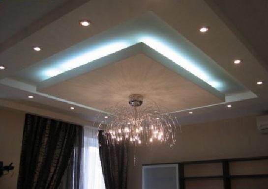 Пример парящего потолка из гипсокартона 4