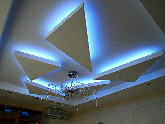 Пример парящего потолка из гипсокартона 5