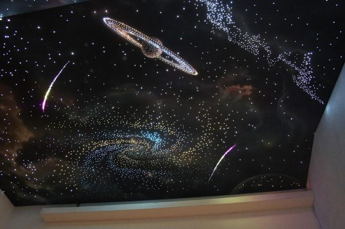 Натяжные потолки «Звездное небо» - падение кометы на фоне мерцающей галактики