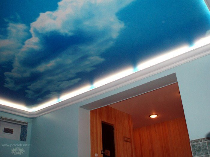 Пример парящего потолка с карнизом 3