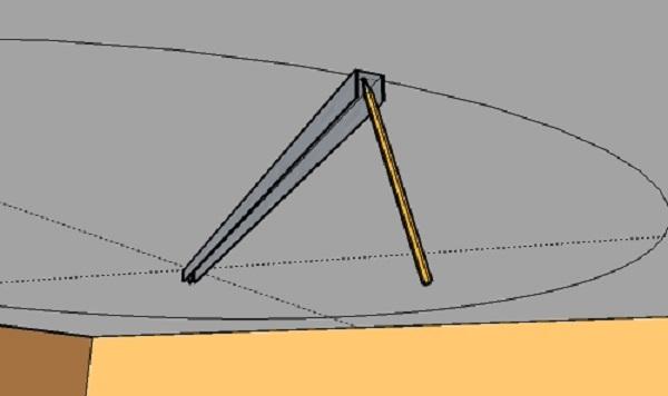 Вкручиваем в центр комнаты, который мы нашли, саморез через одно из отверстий на профиле и очерчиваем окружность на потолке, вставив карандаш в другое, противоположное отверстие.