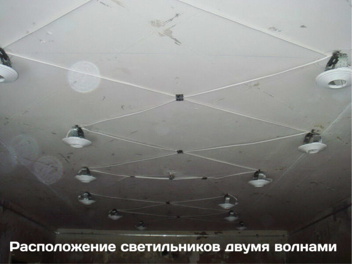 Расположение светильников двумя волнами