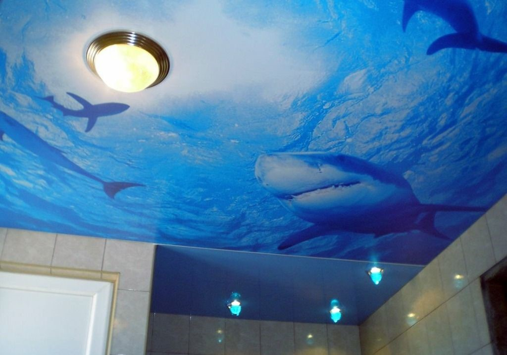 3D потолок с фотопечатью в ванную