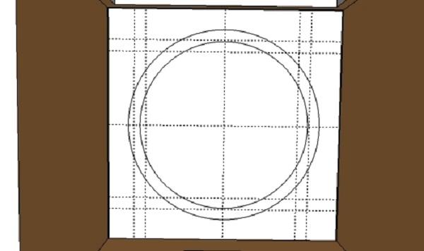 Таким образом, нужно сделать две окружности. Дальше нанесем прямоугольную разметку. Ее удобно наносить отбивкой с цветным меловым порошком.