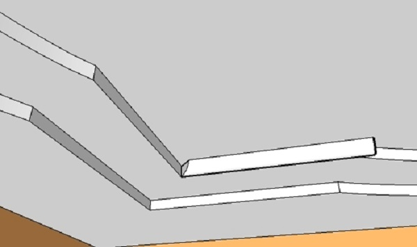 Подрезку начинаем с внутренних углов. Режем профиль с запасом и стороной, зарезанной под 45 градусов. Наносим клей и вставляем в угол нашей конструкции из гипсокартона.