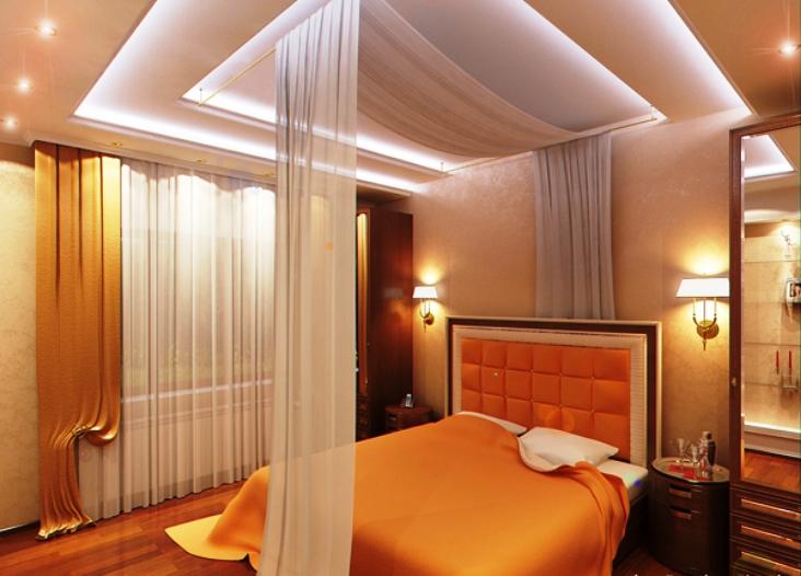 Пример парящего потолка из гипсокартона 2