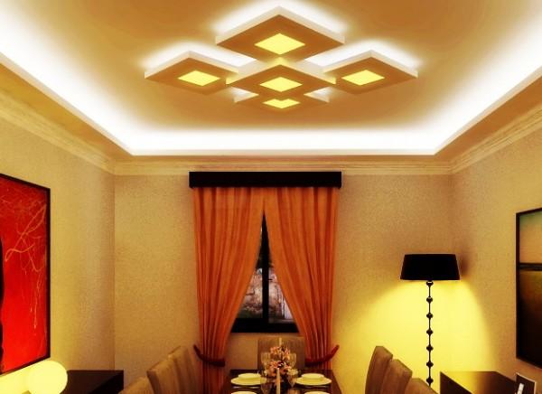 Пример парящего потолка из гипсокартона 3