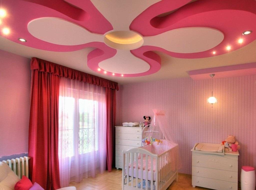 Цветок из гипсокартона в детской комнате
