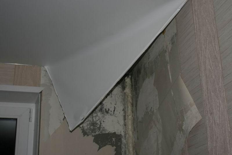 Демонтаж прямолинейной натяжной конструкции
