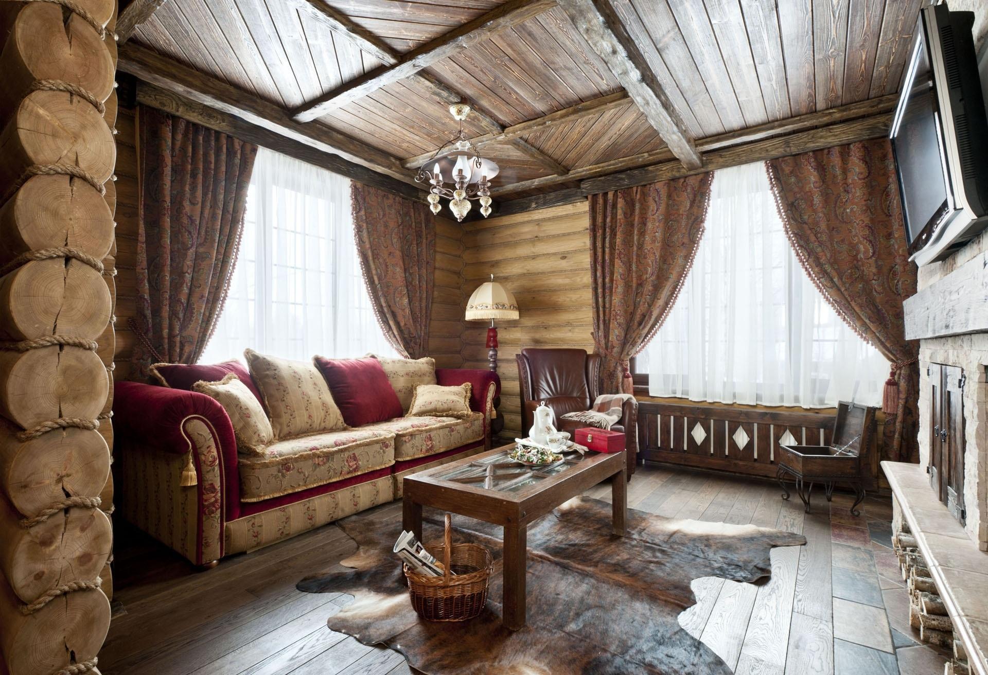 Деревянный потолок в стиле кантри