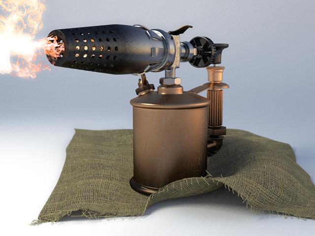 Для снятия краски можно использовать паяльную лампу