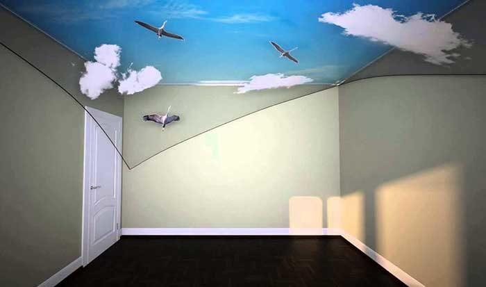 Двухслойный натяжной потолок 3D