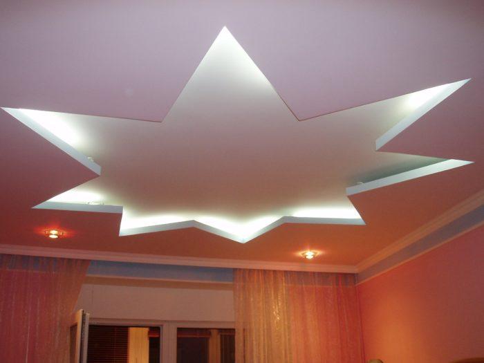 Двухуровневый потолок из гипсокартона фото
