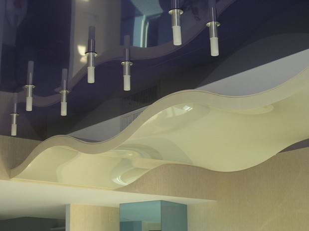 Фигурный натяжной потолок
