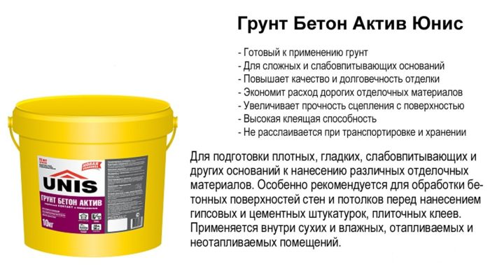 Грунт Бетон Актив Юнис 10л - грунтовка для стен и потолка