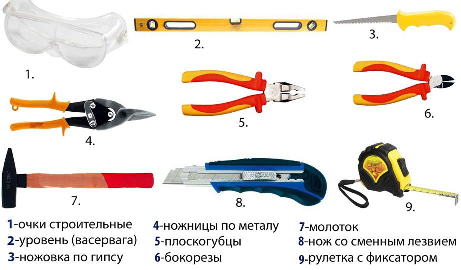 Инструменты для монтажа реечного потолка