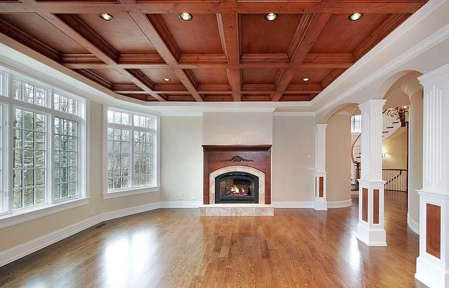 Интерьер с кессонным потолком