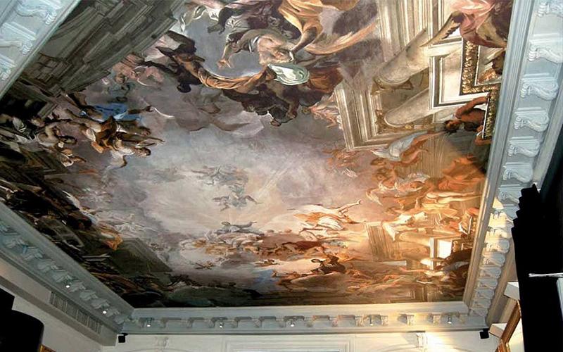 Художественная роспись. Художественные натяжные потолки тканевые фото