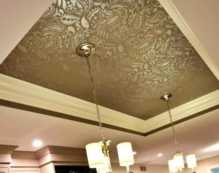 Красивый натяжной потолок из ткани