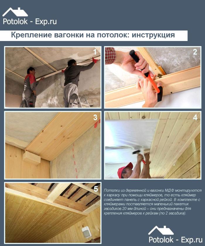 Крепление вагонки на потолок: инструкция