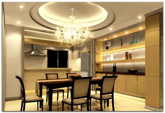 Кухонный потолок из гипсокартона