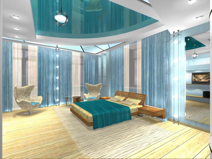 Многоуровневый потолок в спальню