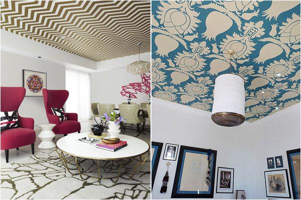 Модные тенденции: узорчатые обои на потолке