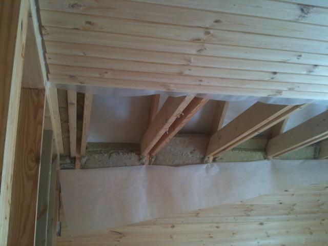 Монтаж подшивного потолка (в бане)
