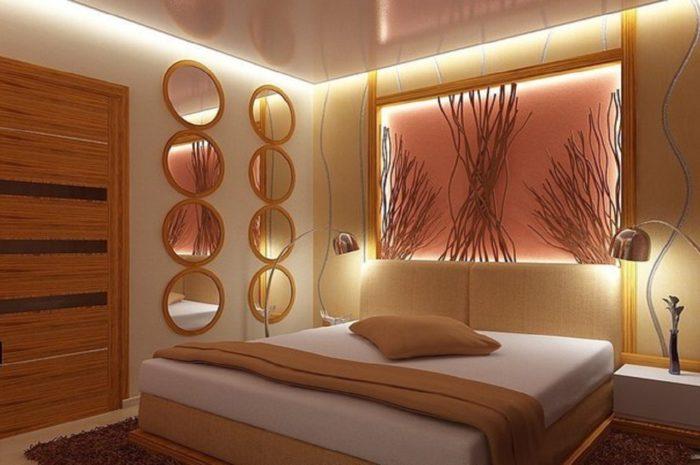 Натяжной парящий потолок в спальне