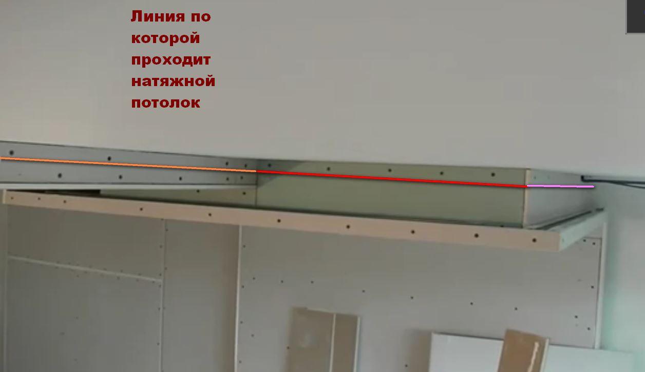 Натяжной потолок можно комбинировать с гипсокартонными конструкциями
