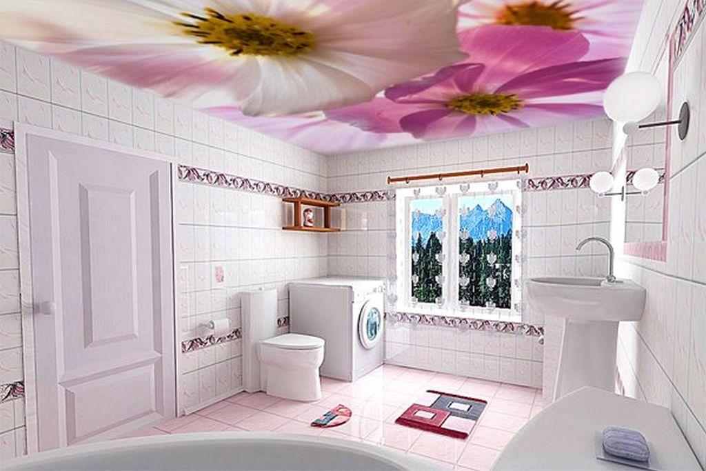 Натяжной потолок с фотопечатью в ванной
