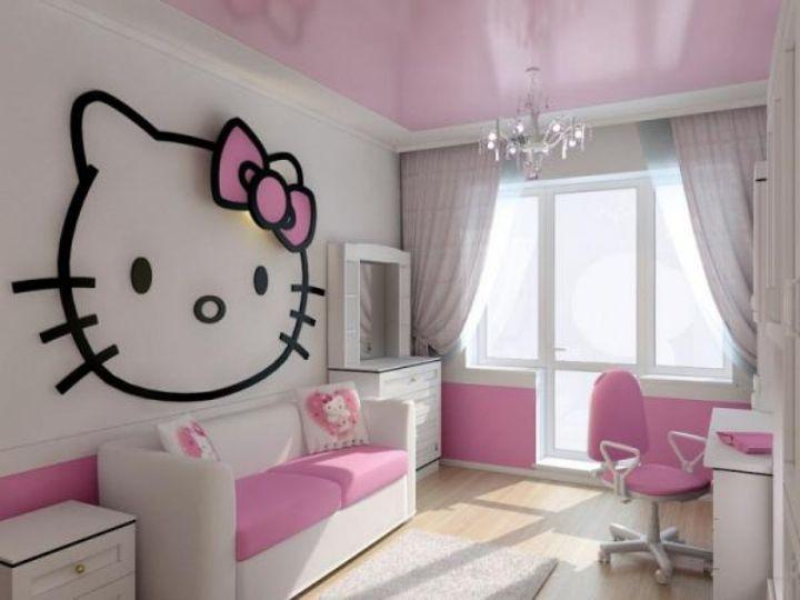 Натяжной потолок в детской комнате девочки