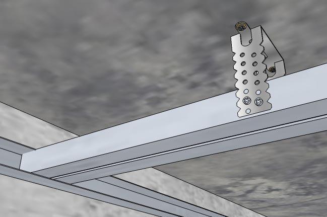 Несущий профиль вставляется в стартовый и крепится саморезами по металлу