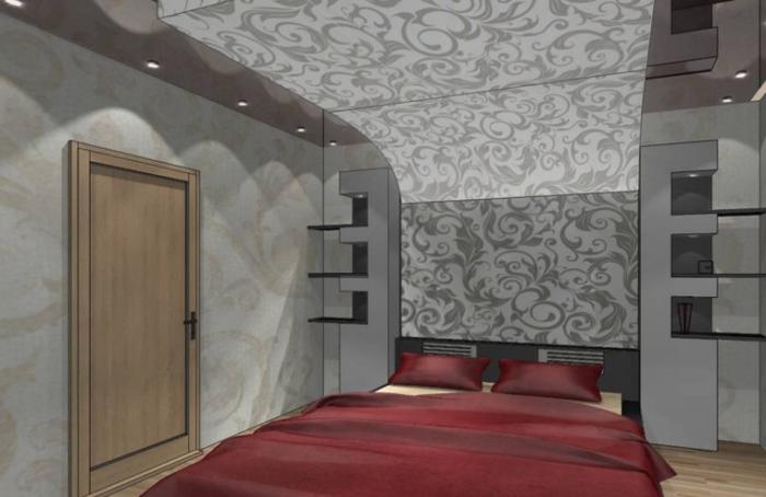 Обои с контрастным рисунком на потолке в спальне