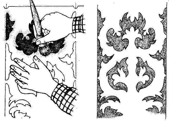 Обратный трафарет и рисунок, полученный с его помощью