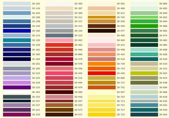 Образцы цвета и оттенков плёнки натяжных потолков, их маркировка