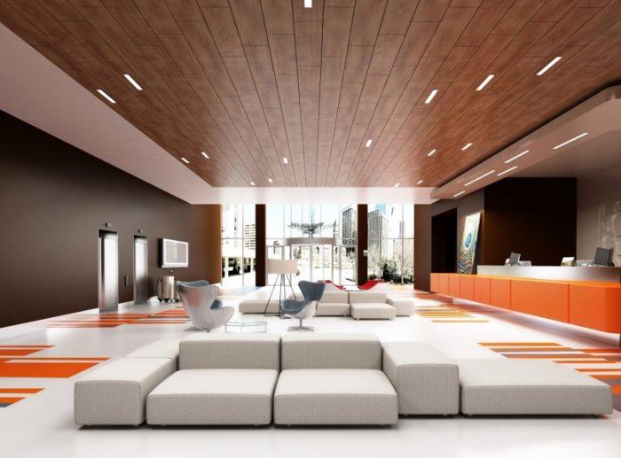 Очень стильный деревянный потолок современного дизайнерства