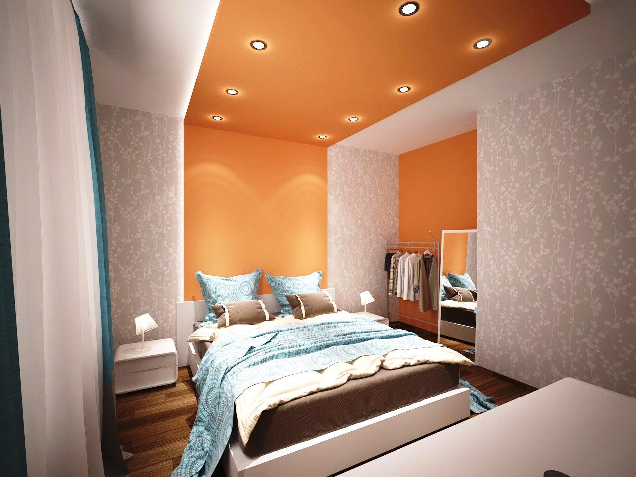 Оранжевый потолок в спальне