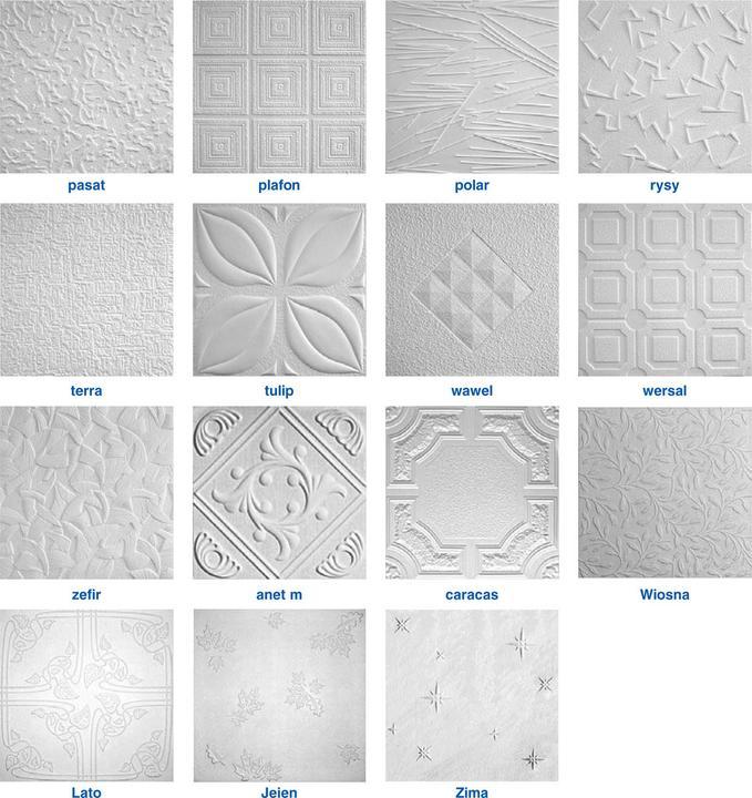 Пенопластовая плитка. Цвет, размеры и форма одинаковы, различается лишь фактура поверхности