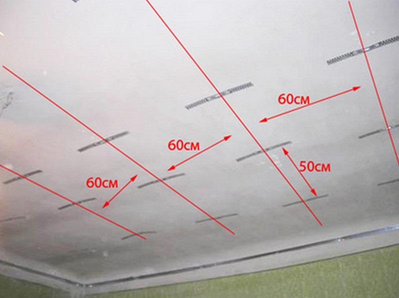 По периметру установлен профиль UD, а на потолке прикручены П-образные подвесы