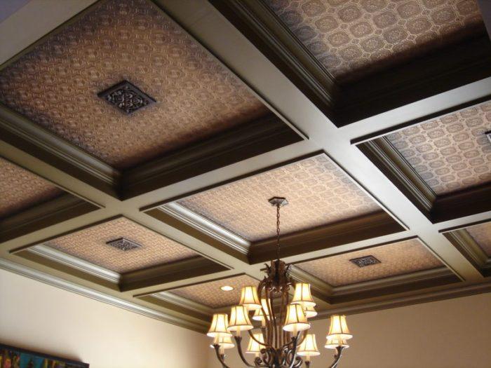 Подшивной кессонный потолок