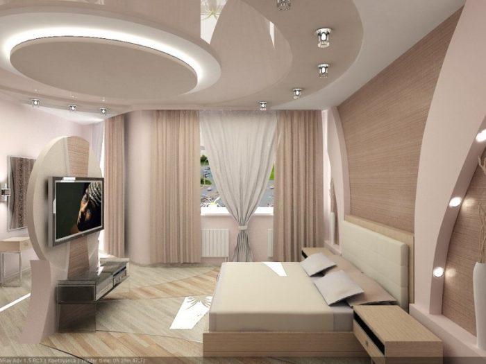 Подвесной потолок в спальню с подсветкой