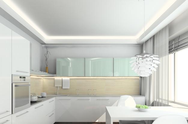 Подвесные потолки из гипсокартона для кухни могут выглядеть так