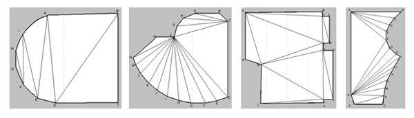 Потолок любой формы можно разделить на треугольники, стороны которых легко замерить