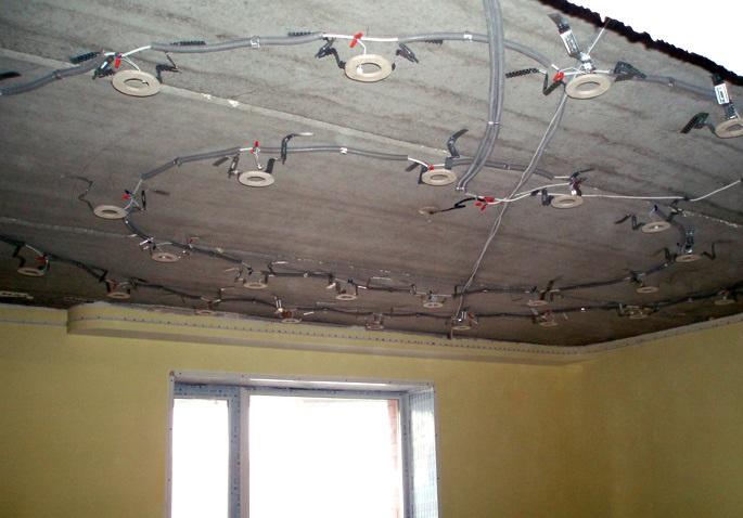 Потолок с установленными креплениями под светильники