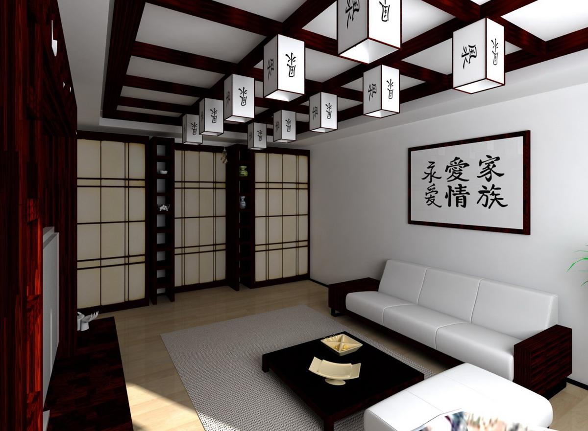 Потолок в данной гостиной декорированный деревом, а роль верхнего освещения выполняют стилизированные фонари