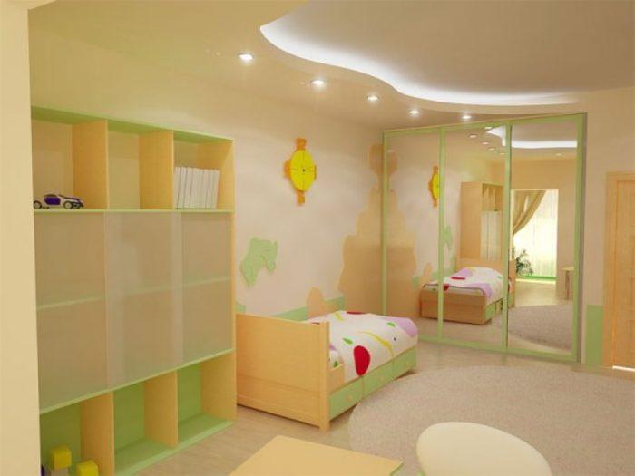 Пример использования светодиодов в освещении потолка из гипсокартона в детской комнате